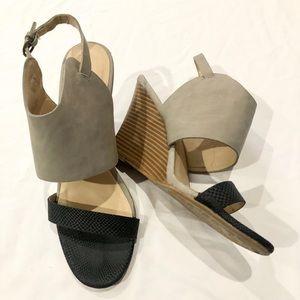 CL Laundry wedges w/ grey suede & wooden heel